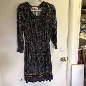 Loft Black Multi Color Midi Shirt Dress Med